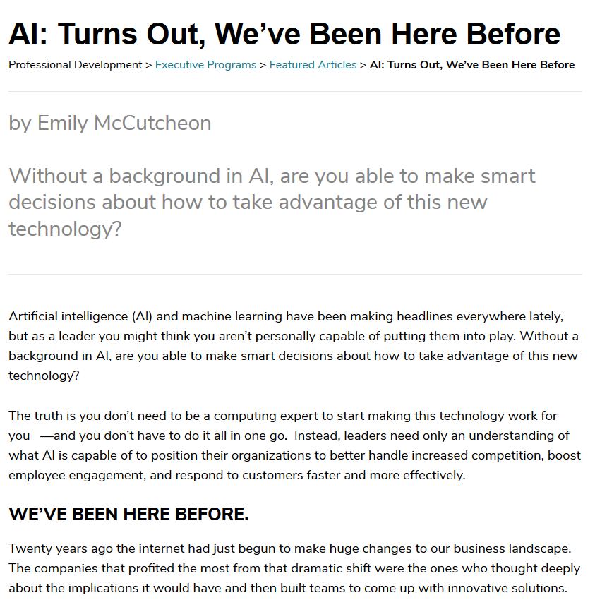 screengrab of an AI article Emily wrote