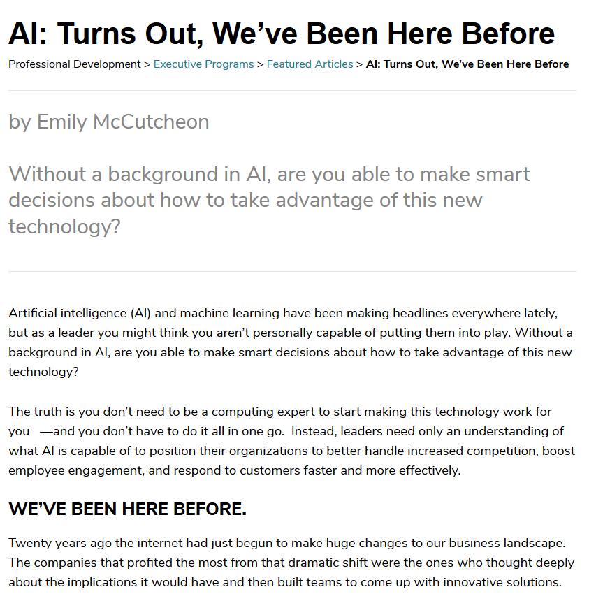screengrab of an AI article Emily wrote