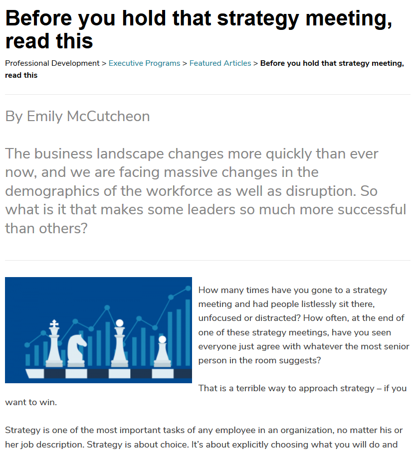 A screengrab of an article on strategy