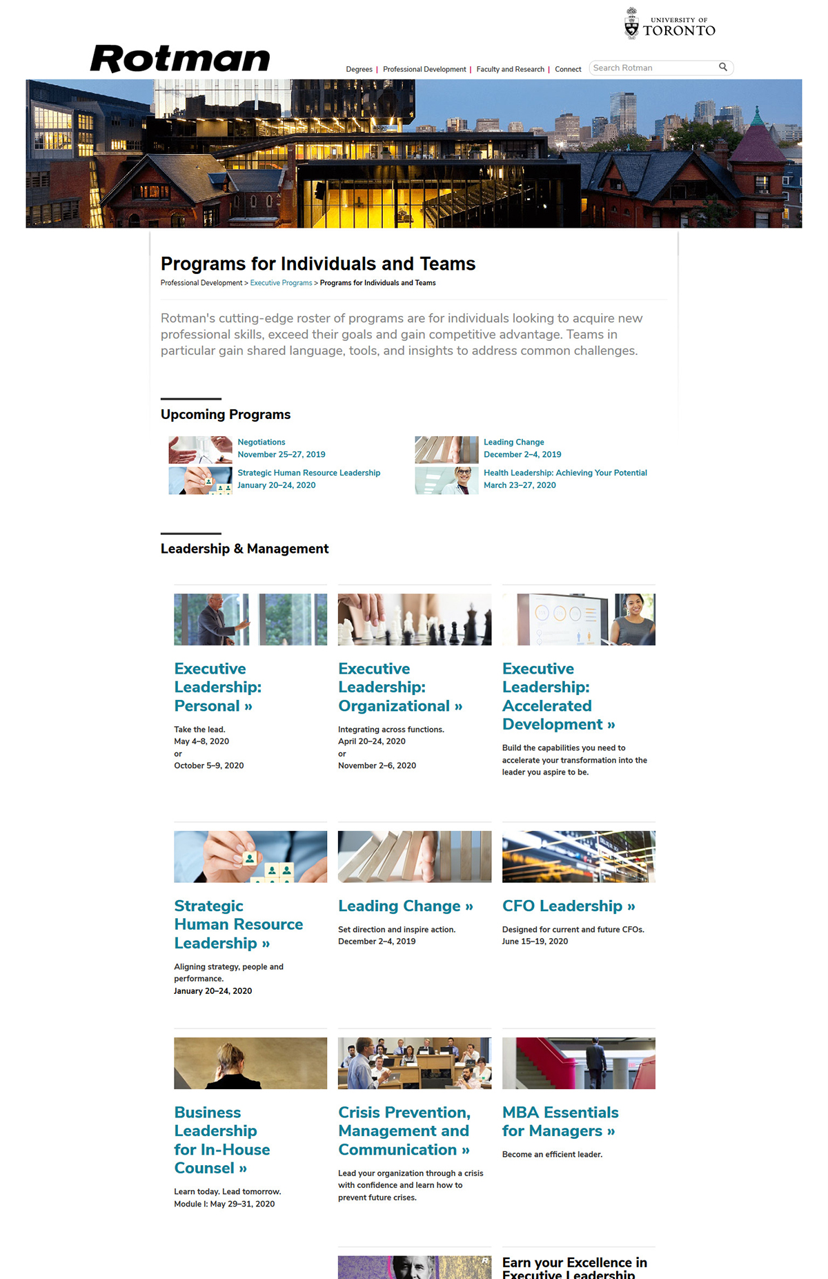 A screengrab of the Rotman Executive Programs homepage