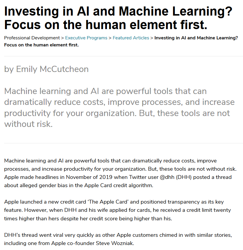 Screengrab of an article on AI and machine learning